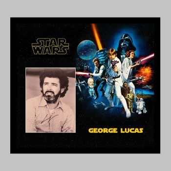 """George Lucas Hand Signed 10x8"""" Photograph in a Framed Presentation"""