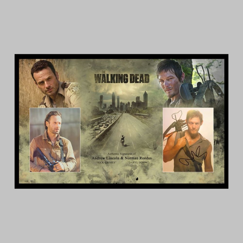 Andrew Lincoln & Norman Reedus Hand Signed Walking Dead 10x8