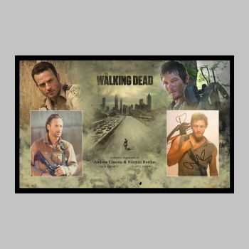 "Andrew Lincoln & Norman Reedus Hand Signed Walking Dead 10x8"" Photographs in a Framed Presentation"