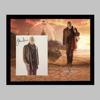 """John Hurt Hand Signed Doctor Who 10x8"""" Photograph in a Framed Presentation"""