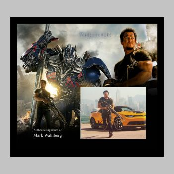 """Mark Wahlberg Hand Signed Transformers 10x8"""" Photograph in a Framed Presentation"""