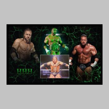 """Triple H Hand Signed Wrestling 10x8"""" Photograph in a Framed Presentation"""