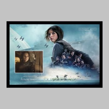 """Felicity Jones Hand Signed Rogue One 10x8"""" Photograph in a Framed Presentation"""