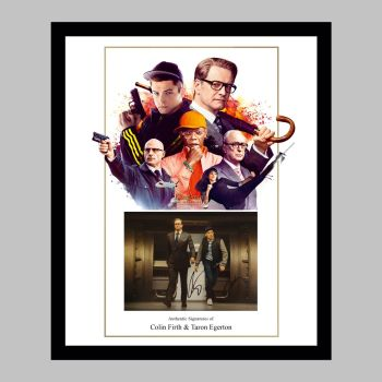 "Colin Firth & Taron Egerton Hand Signed Kingsman 10x8"" Photograph in a Framed Presentation"