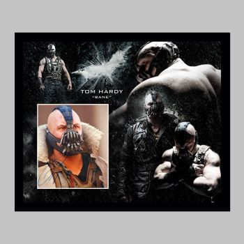 """Tom Hardy Hand Signed Bane 10x8"""" Photograph in a Framed Presentation"""