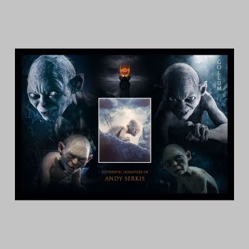"Andy Serkis Hand Signed Gollum 10x8"" Photograph in a Framed Presentation"