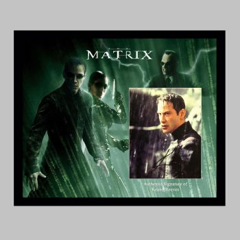 """Keanu Reeves Hand Signed Matrix 10x8"""" Photograph in a Framed Presentation"""