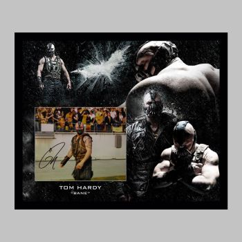 """Tom Hardy Hand Signed Bane 10x8"""" Photograph in a Framed Presentation: A"""