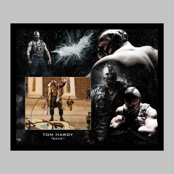 """Tom Hardy Hand Signed Bane 10x8"""" Photograph in a Framed Presentation: B"""
