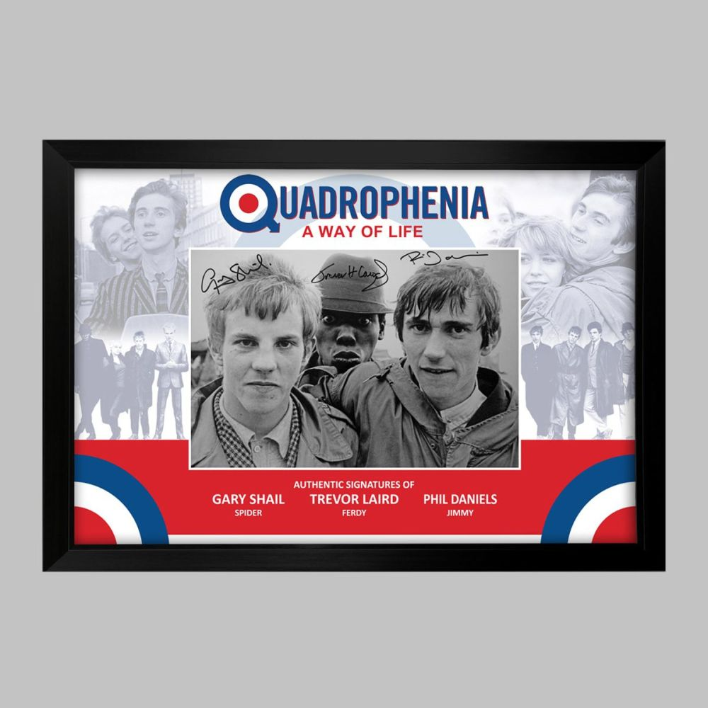 Quadrophenia Triple Signed Photograph in a Framed Presentation