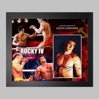 """Dolph Lundgren Hand Signed 10x8"""" Photograph in a Framed Presentation"""
