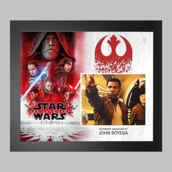 "John Boyega Hand Signed Star Wars 10x8"" Photograph in a Framed Presentation: C"