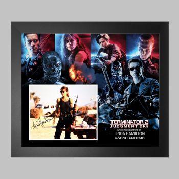 "Linda Hamilton Hand Signed Terminator 2 10x8"" Photograph in a Framed Presentation"