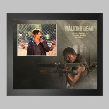 """Norman Reedus Hand Signed The Walking Dead 10x8"""" Photograph in a Framed Presentation: B"""