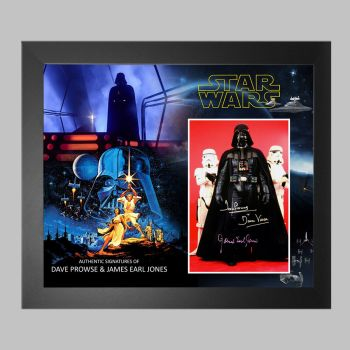 """Dave Prowse & James Earl Jones  Hand Signed Star Wars 10x8"""" Photograph in a Framed Presentation"""