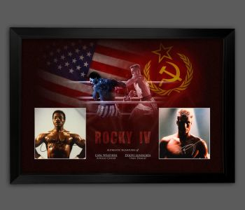 """Carl Weathers & Dolph Lundgren Hand Signed Rocky 10x8"""" Photographs in a Framed Presentation: C"""