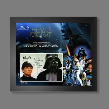 """Dave Prowse & Al Lampert Hand Signed Star Wars 10x8"""" Photograph in a Framed Presentation"""