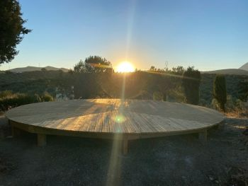 yoga deck at sunrise