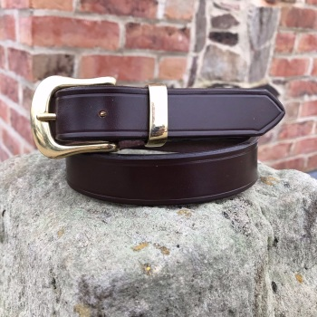 ENGLISH BRIDLE LEATHER BELT WITH SWELLED WEST END BUCKLE