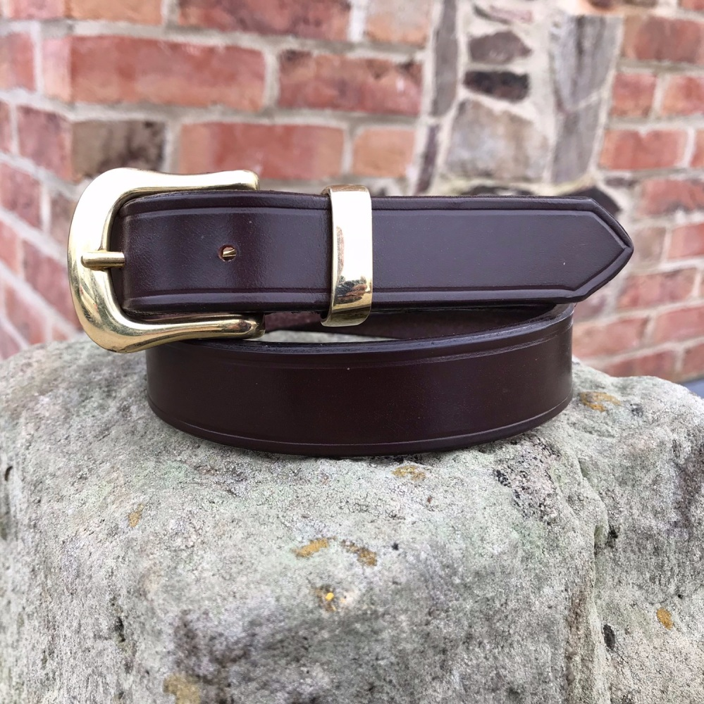 LEATHER BELT WITH SWELLED WEST END BUCKLE