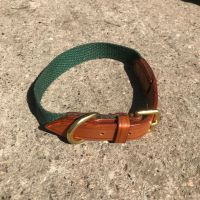 ENGLISH BRIDLE LEATHER AND WEBBING COLLAR