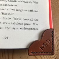 HAND STITCHED LEATHER HEART SHAPED BOOK MARK