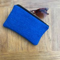 BLUE CHECK HARRIS TWEED & BLACK LEATHER GLASSES CASE