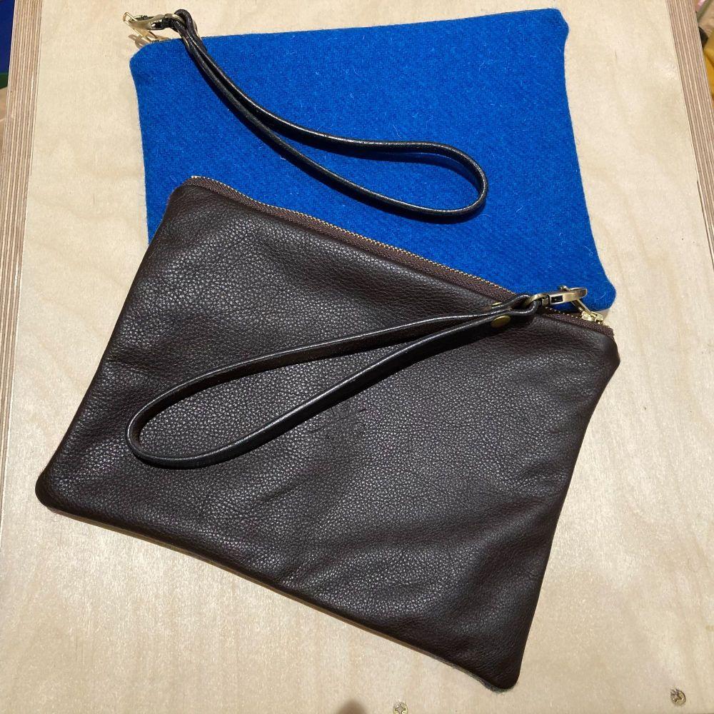 BLUE HARRIS TWEED  & LEATHER CLUTCH BAG