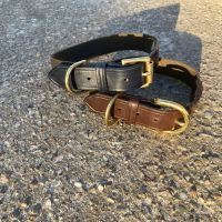 ENGLISH BRIDLE LEATHER AND COTTON WEB COLLAR
