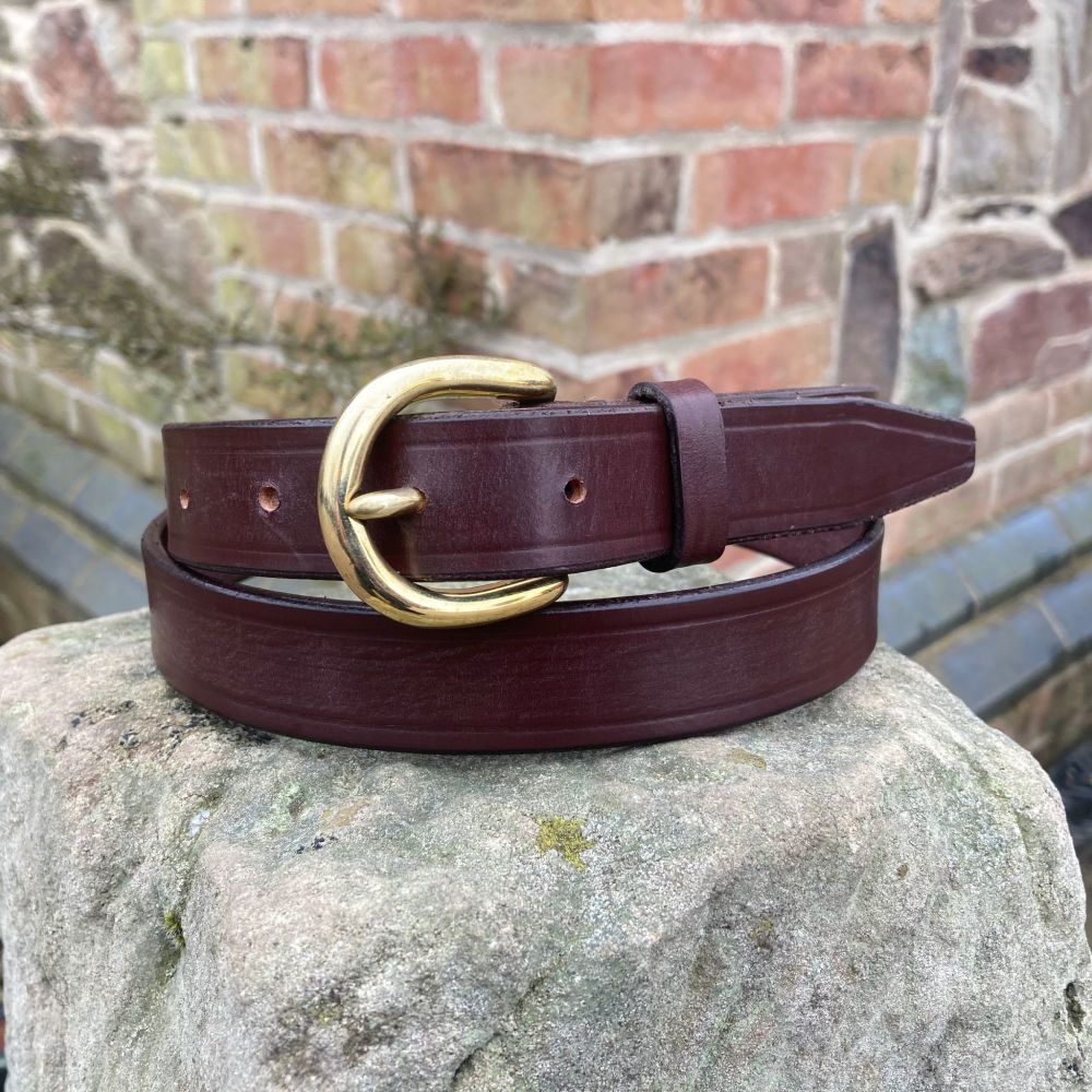 ENGLISH BRIDLE LEATHER BELT WITH SWAGE BUCKLE