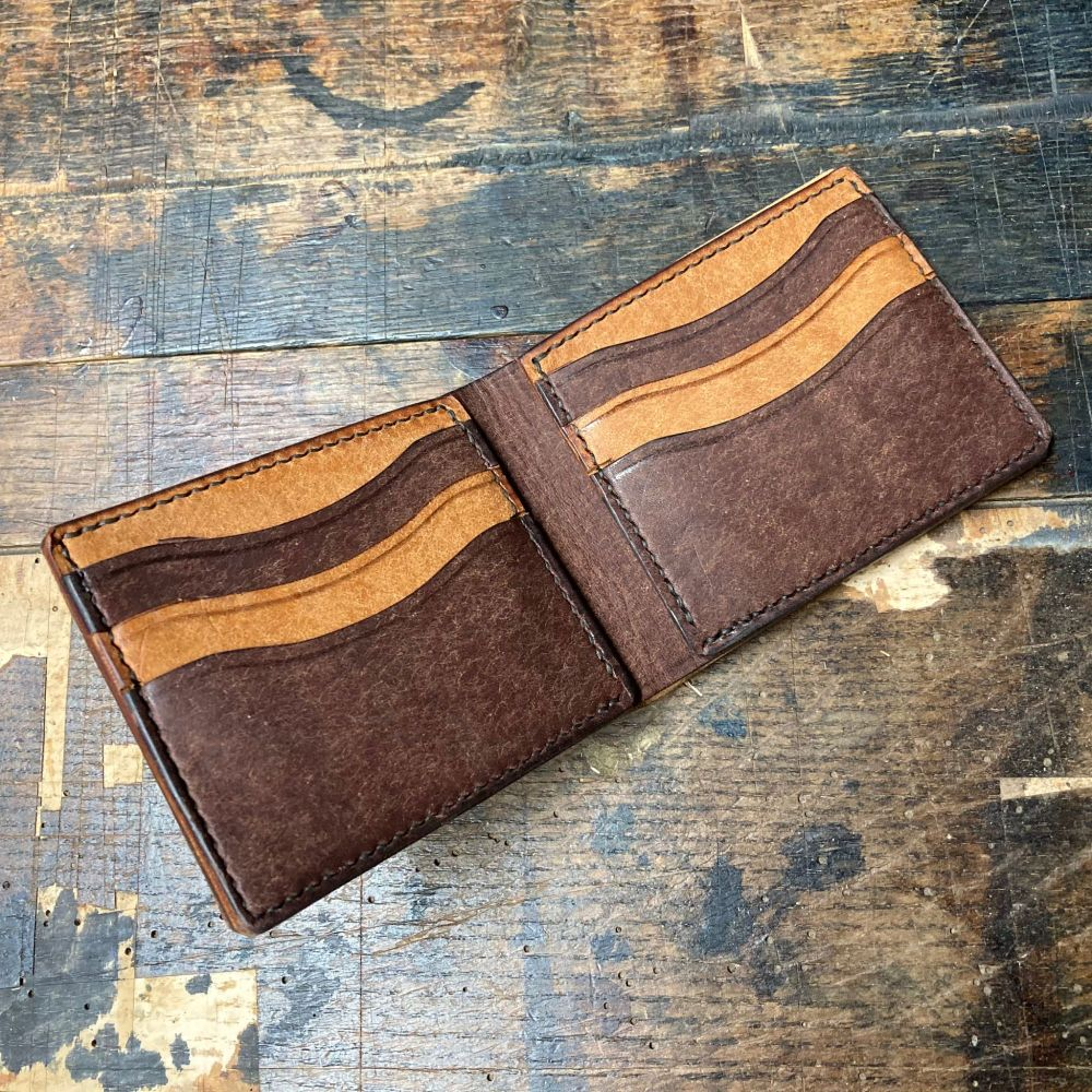 Brown and Tan Hand Stitched Italian Leather Wallet