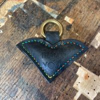 HAND STITCHED HEART KEY RING