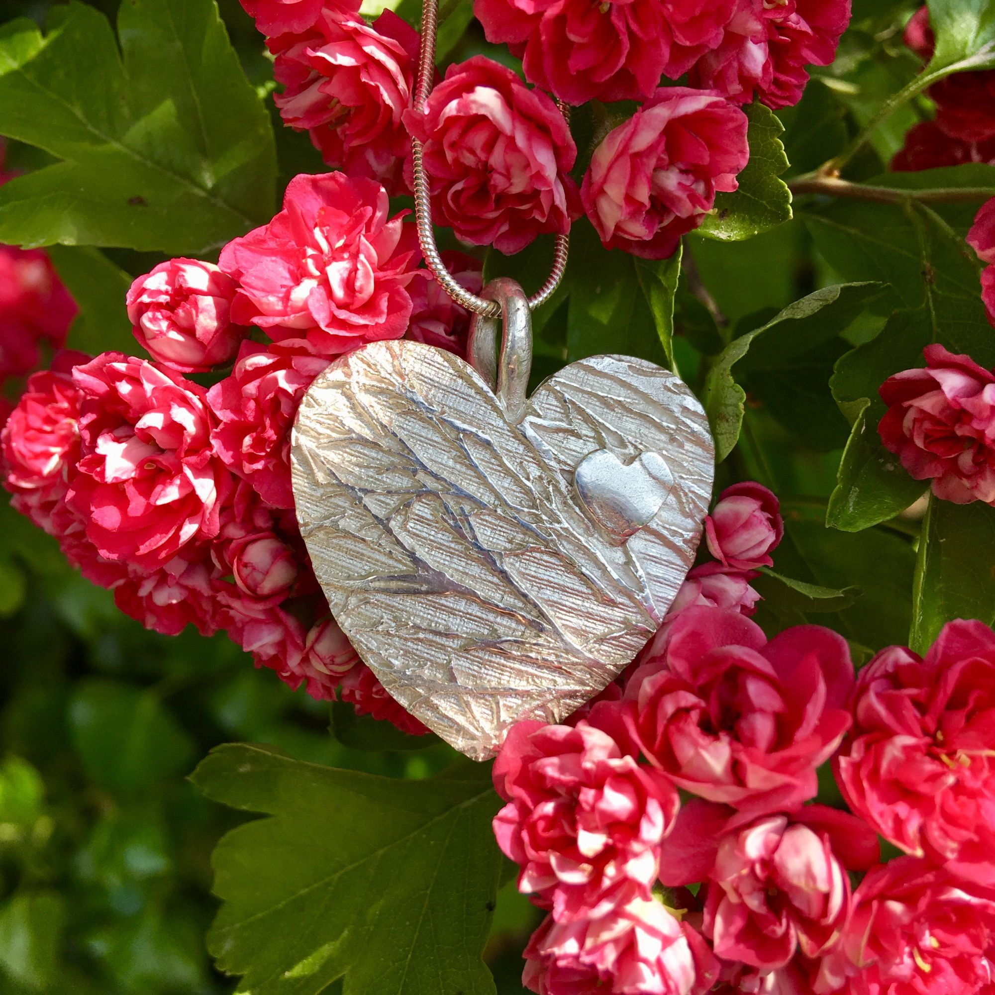 Large Silver Birch Heart with mini heart