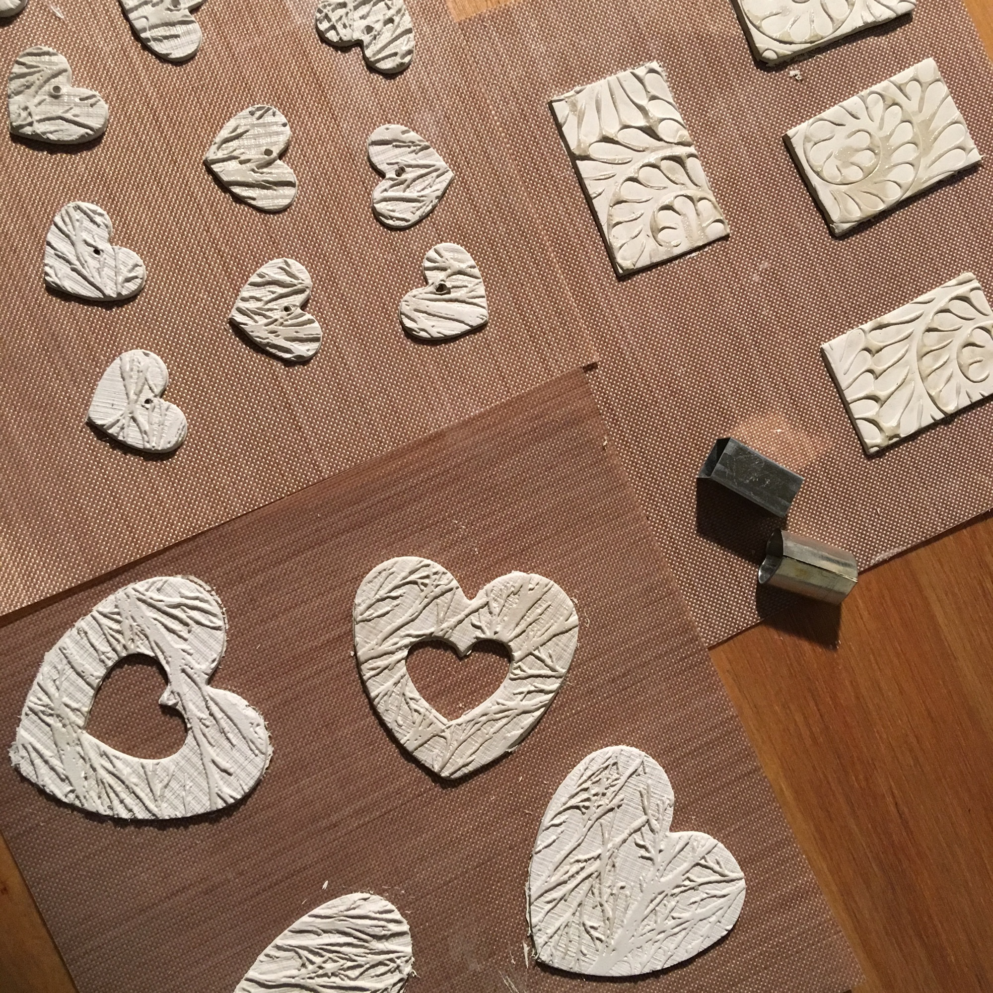 Shaping the silver clay