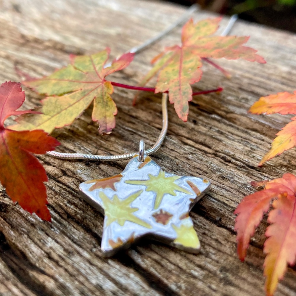 Silver Star Pendant with enamel