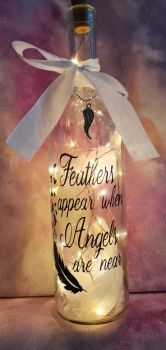 Light up angelic wine bottle
