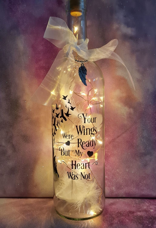Light up memorial wine bottle