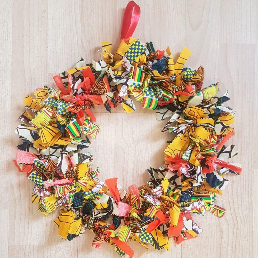 African Print Rag Christmas Wreath