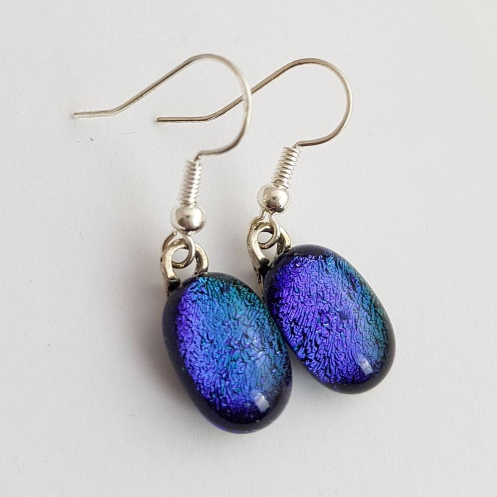 Peacock Blue Dichroic Drop Earrings