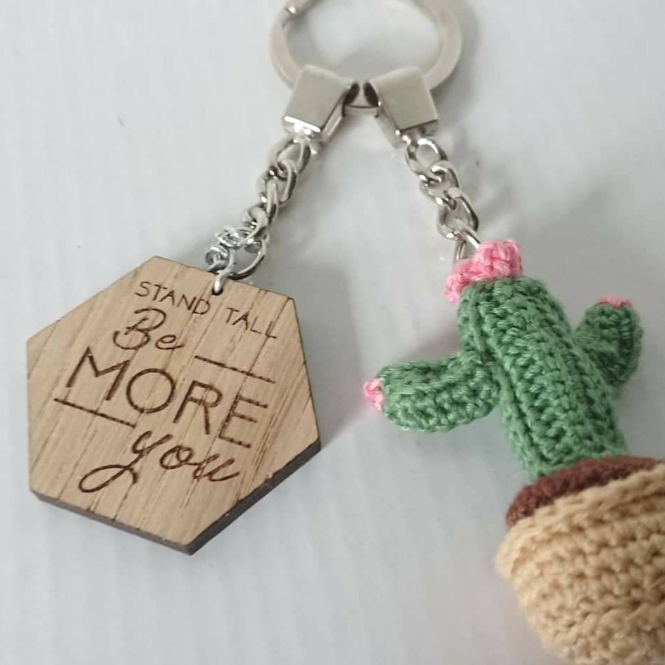 Motivational Wooden Key Ring & Cactus