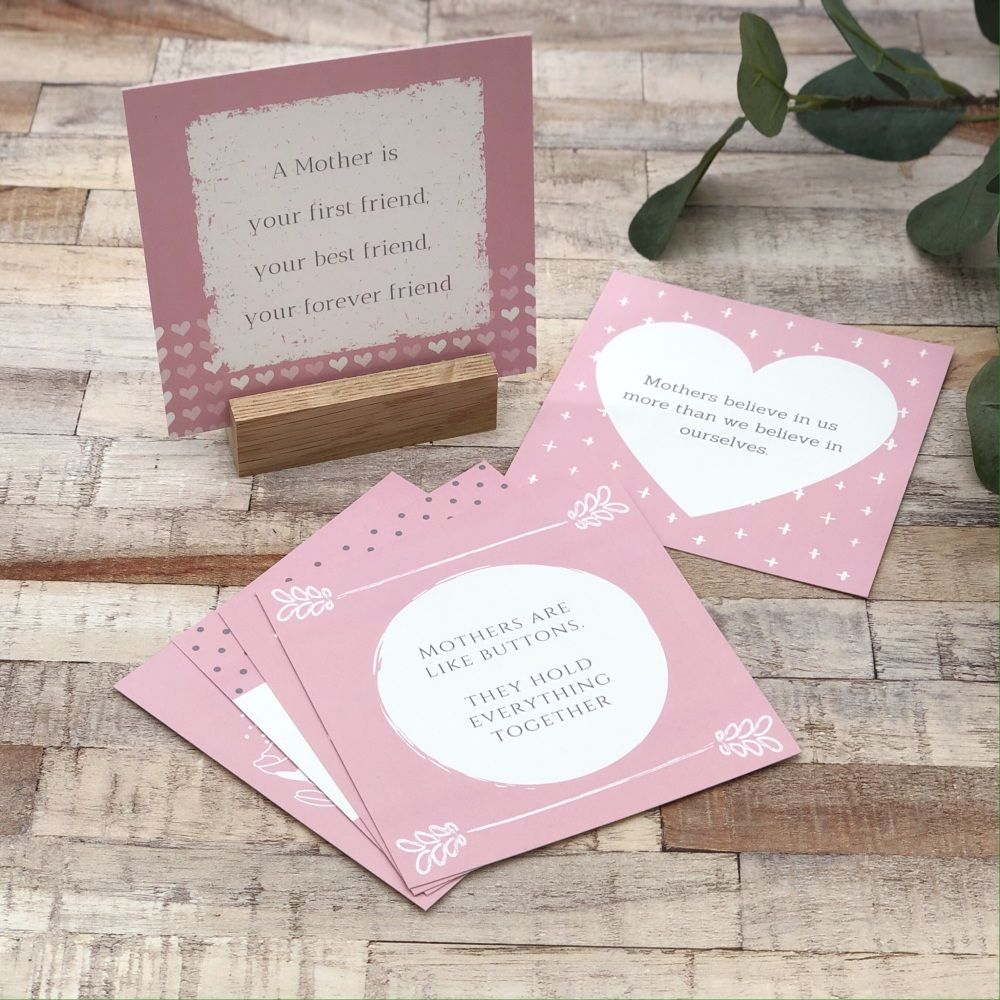 Set of 6 Mother's Day Notes in an Oak Wood Stand