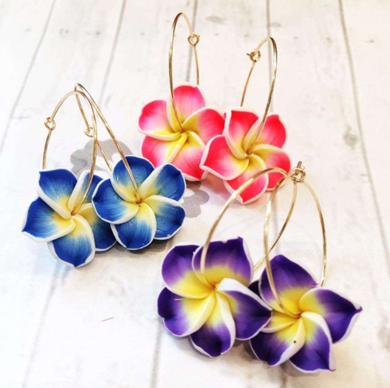 3 different sets of flower hoop earrings