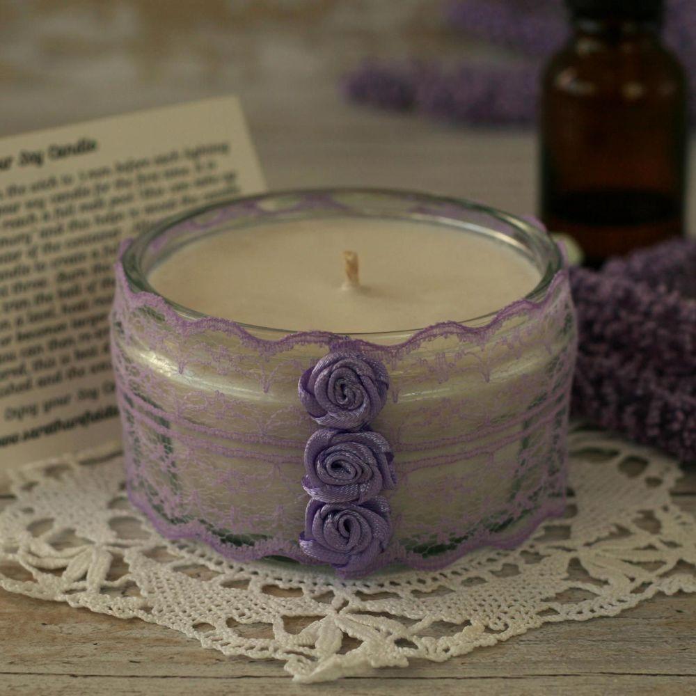 Boho style lavender candle