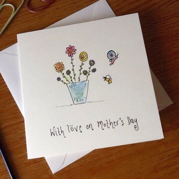 Card featuring watercolour flowers that says - with love on mother's day