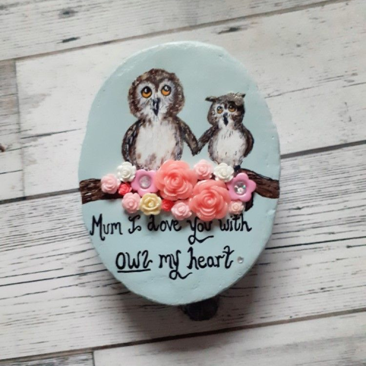 Handpainted Pebble Featuring Owls and a sweet message