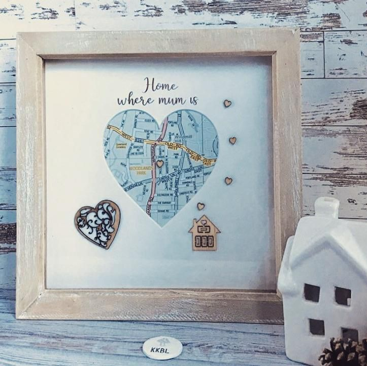 Heart framed map with mum's location