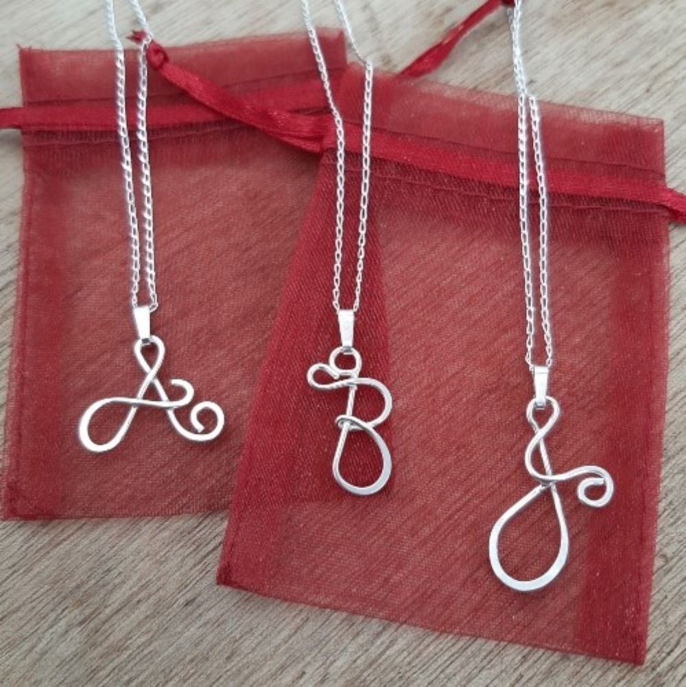 Solid Silver Decorative Letter Pendants