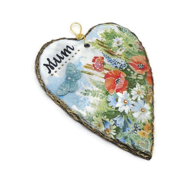 Decoupage floral scene on a heart-shaped slate