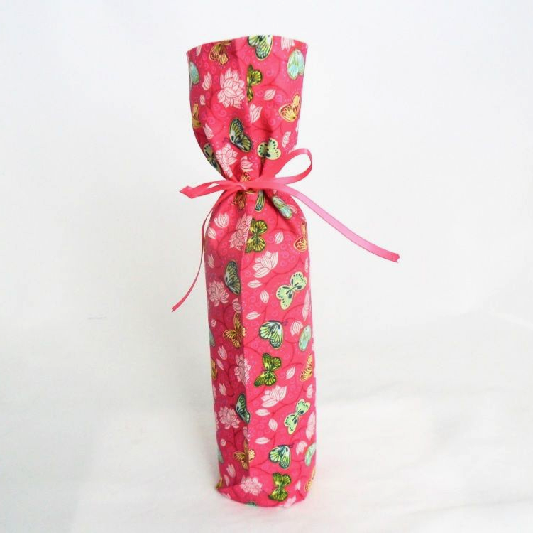 Pink Fabric Bottle Gift Bag with Butterfly Floral Pattern