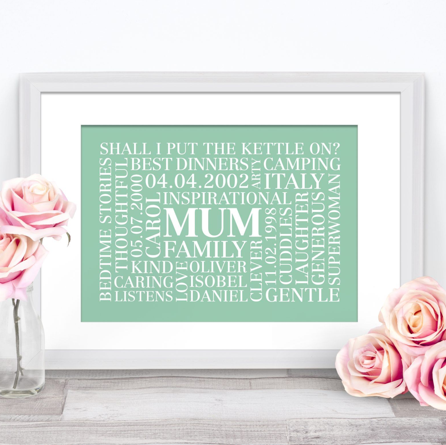 Word art frame with MUM at the center